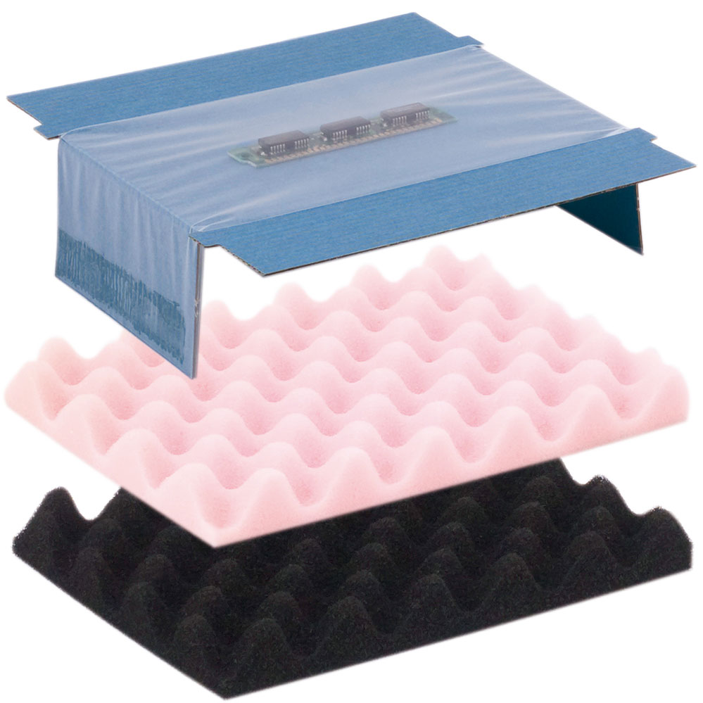 Einsätze für Versandschachteln als FLATPAC (dissipativ) inkl. Fixierfolie oder Noppenschaum (h = 20 mm). Der Schaum in Rosa ist dissipativ, Schwarz hingegen elektrisch leitfähig.
