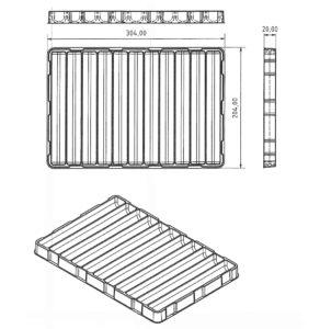 Konstruktionszeichnung Tiefzieh-Tray