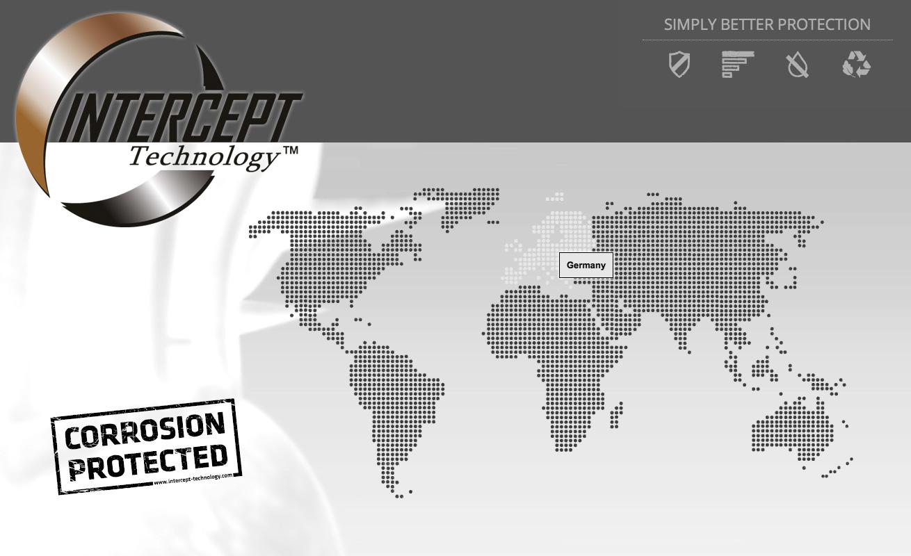 ICorrosion protected - ntercept Technology Weltkarte
