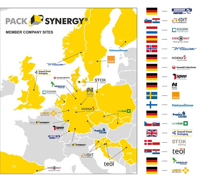 PackSynergy Standortkarte | Netwzerk Europaweit | Stand: 30.09.2019