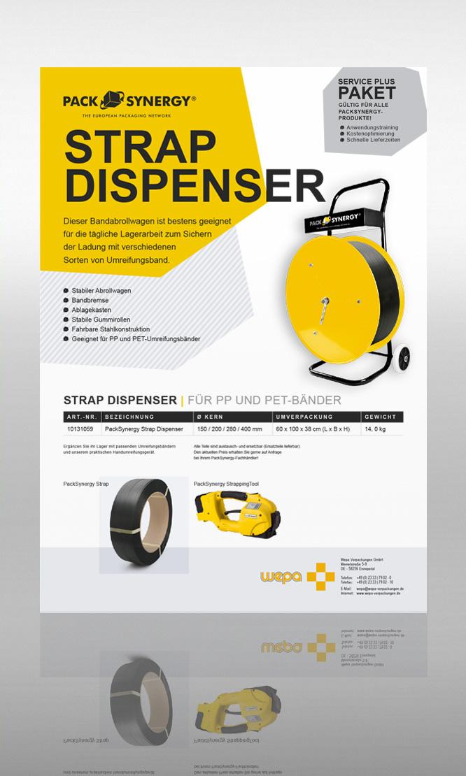PackSynergy Strap Dispenser Abrollwagen für Umreifungsbänder, Bandumreifungsabrollwagen, Bandabrollwagen