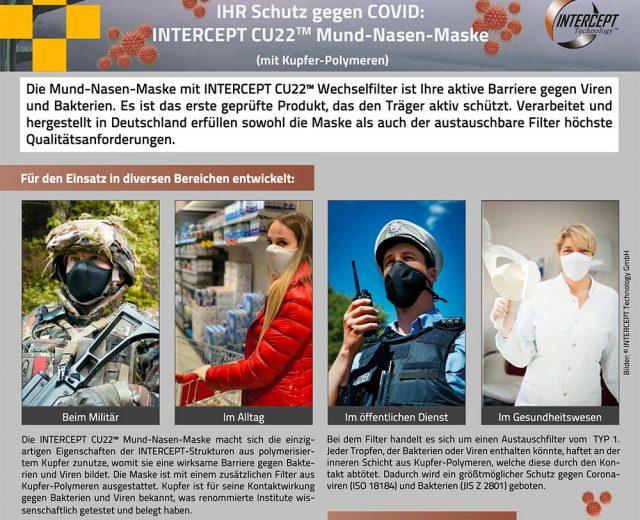 INTERCEPT CU22 Mund Nasen Maske OnePager DEU Wepa