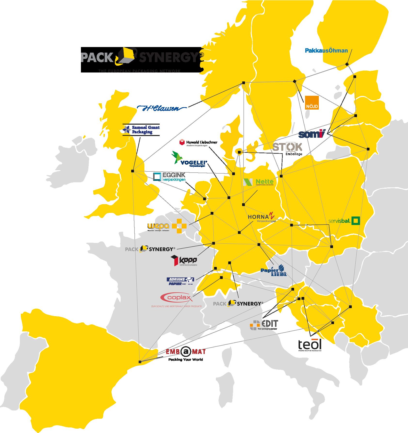 Packsynergy Netzwerk Partnerstandorte